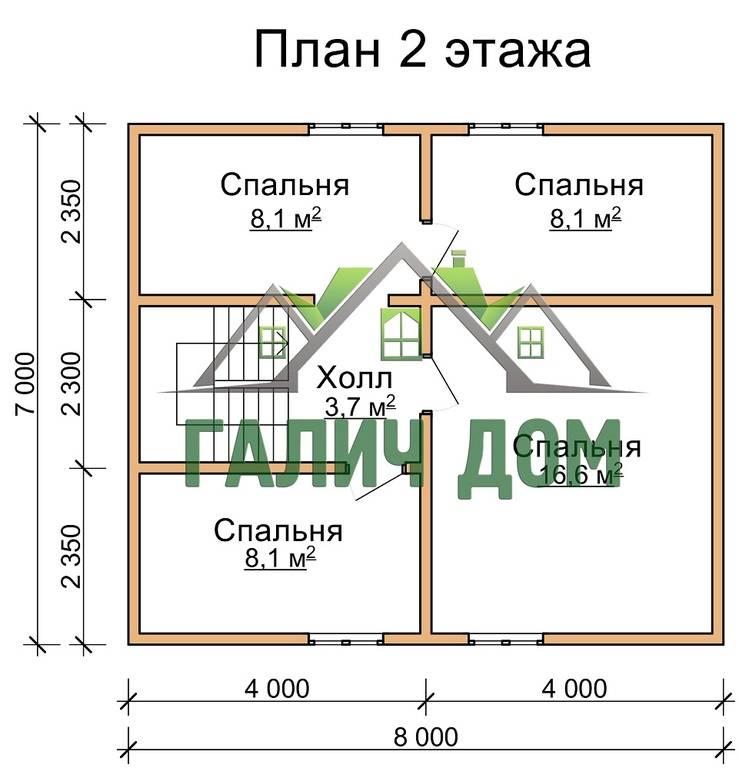 Проект деревянного дома из бруса 8 на 9 с мансардой