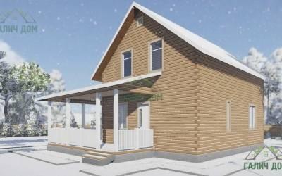 Дачный дом из бруса 9х9,5 полутороэтажный