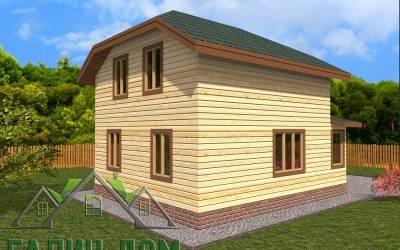 Брусовой дом 6х9 полутороэтажный - 4(маркер3)