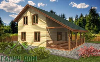 Дачный дом из бруса 7х9 полутороэтажный - 15 (маркер4)