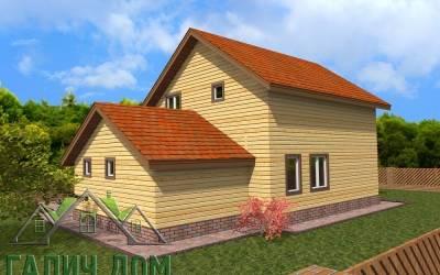 Проект дома из бруса 8х12 полутороэтажный - 2 (маркер 2)