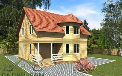 Дом из бруса 9х9 полутороэтажный 21(1маркер)