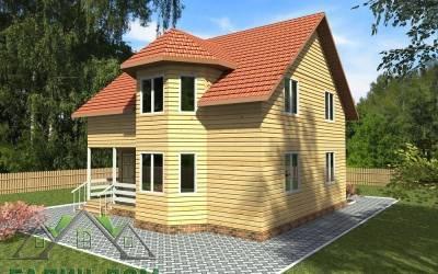 Деревянный дом 9х9 полутороэтажный 21(4 маркер)