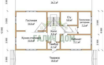 План 1 этажа дома 12х12