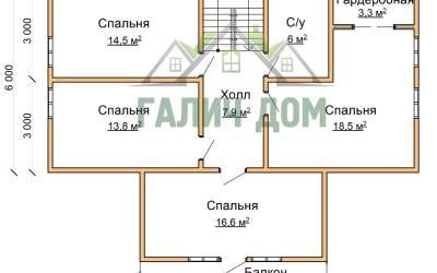 План 2 этажа дома 12х12