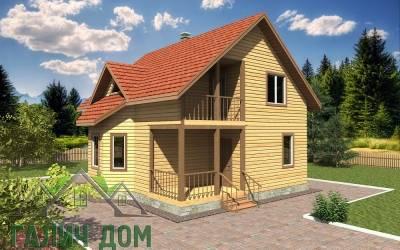 Дом из бруса 8х8 полутороэтажный