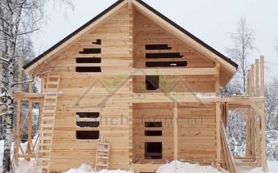 Красивый брусовой дом по проекту заказчика