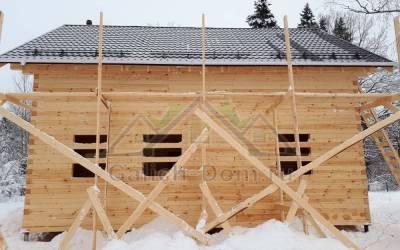Полутороэтажный дом из зимнего леса