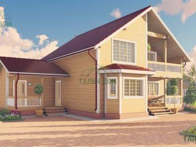 Картинка (4) Проект дома 10 на 13 с эркером и балконом (ДБ-62)