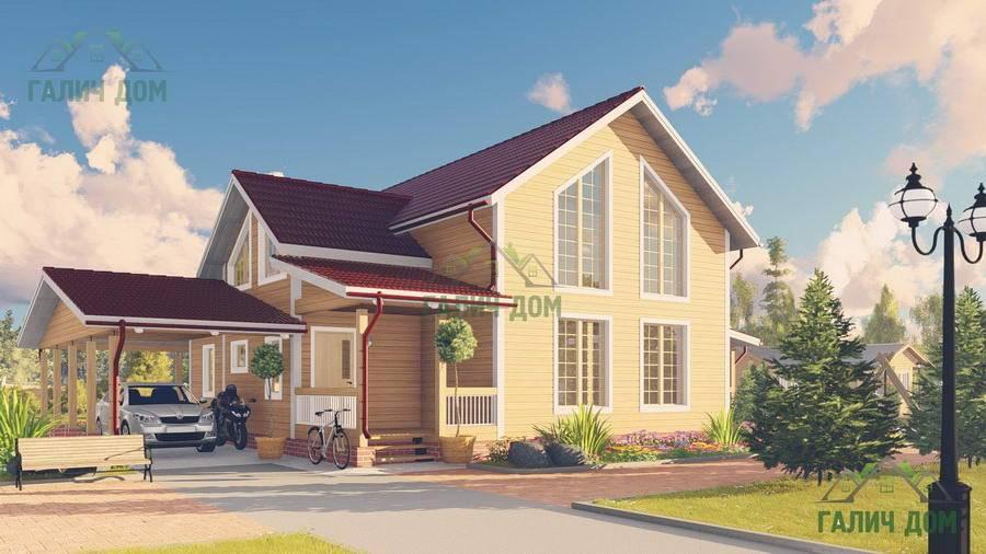 Картинка (1) Дом из бруса 13 на 15 с навесом (ДБ-65)