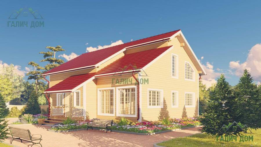 Картинка (1) Дом из бруса 10х13 с верандой (ДБ-64)