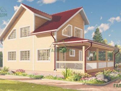 Картинка (4) Проект деревянного дома 9х12 с большой террасой (ДБ-61)
