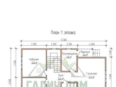 Картинка (5) Планировка 1-го этажа дома 9х12 (ДБ-72)