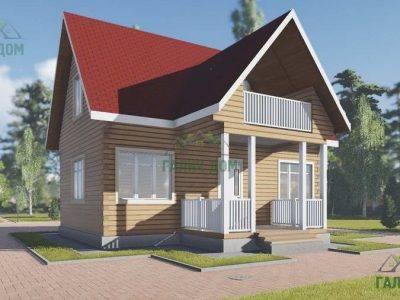 ДБ-21 | Дом из бруса 8х9 с балконом
