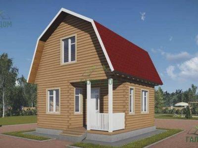 ДБ-129 | Дом из бруса 6х6 с ломаной крышей