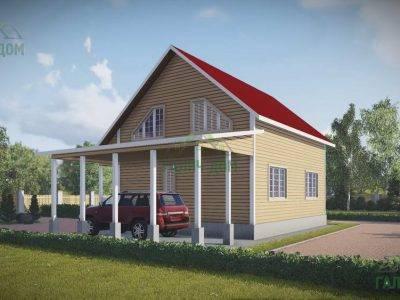 Картинка (2) Дом из бруса 11 на 11 с навесом для авто (ДБ-60)