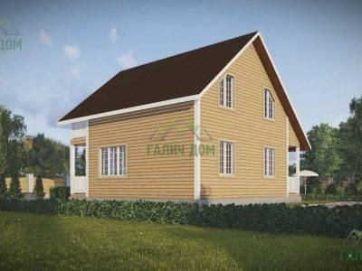 Картинка (3) Проект дома из бруса 8х9 с балконом (ДБ-44)