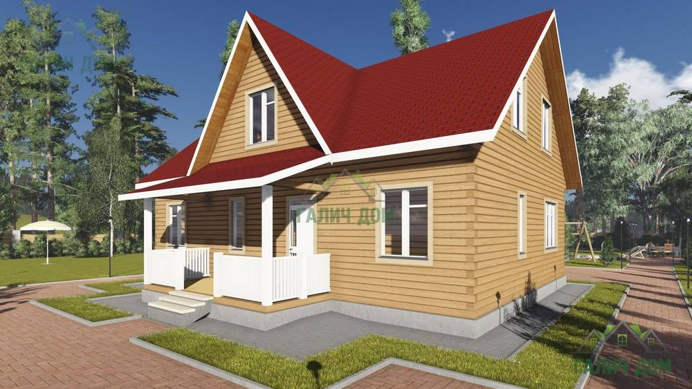Картинка (1) Дом из бруса 9х12 с мансардой (ДБ-96)