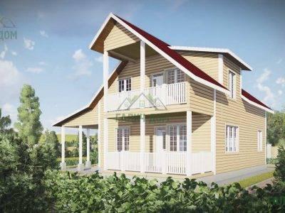 Картинка (3) Проект дома из бруса 12 на 13 с навесом (ДБ-55)