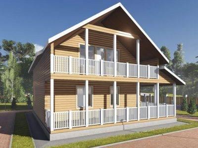 ДБ-101 | Дом 10х11 из бруса с балконом
