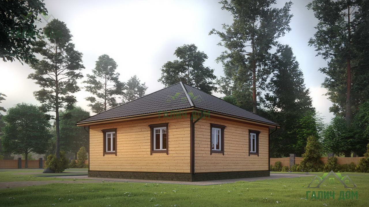 Картинка (1) Дом из бруса 7 на 13 с большими окнами (ДБ-19)