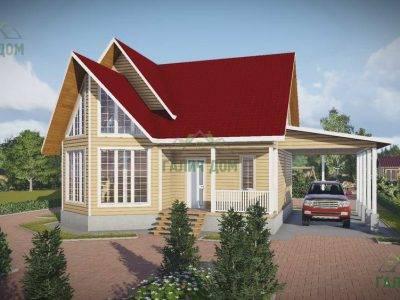 Картинка (4) Дом из бруса 11 на 11 с треугольным эркером (ДБ-60)