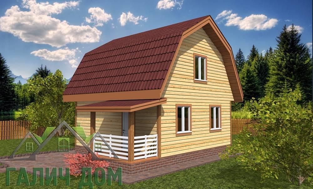 Картинка (1) Дом из бруса 6 на 6 с ломаной крышей
