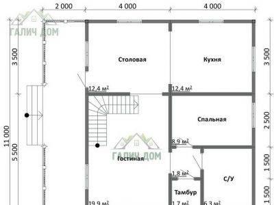 Картинка (5) План 1-го этажа дачного дома из бруса 8х9