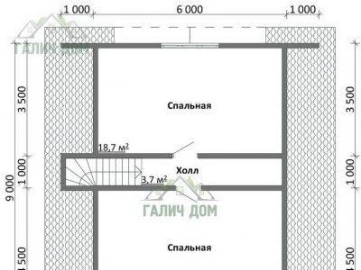 Картинка (6) План 2-го этажа дачного дома из бруса 8х9
