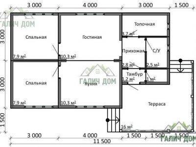 Картинка (5) Планировка одноэтажного дома из бруса 6х10 (ДБ-14)