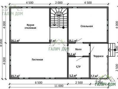 Картинка (5) Планировка 1-го этажа дома из бруса 8 на 11 с мансардой (ДБ-16)