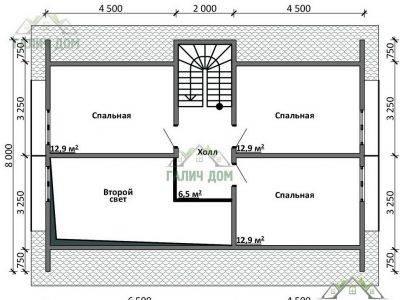 Картинка (6) Планировка 2-го этажа дома из бруса 8 на 11 с мансардой (ДБ-16)