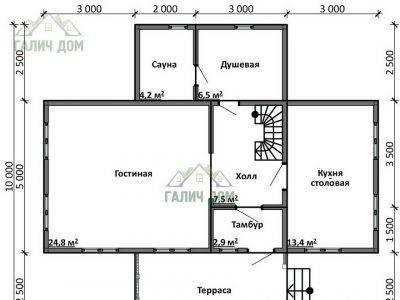 Картинка (5) Планировка 1-го этажа дома из бруса 10х11 с мансардой (ДБ-17)