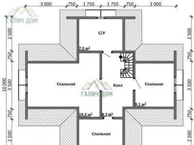 Картинка (6) Планировка 2-го этажа дома из бруса 10х11 с мансардой (ДБ-17)