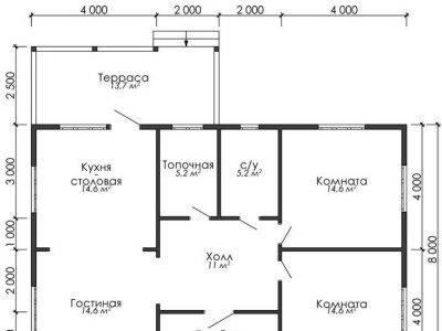 Картинка (5) План одноэтажного дома из бруса 10х12