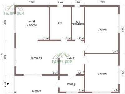 Картинка (5) План 1 этажа одноэтажного дома 11х13