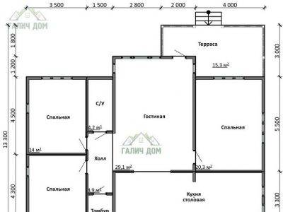 Картинка (5) План 1 этажа одноэтажного дома из бруса 11 на 13