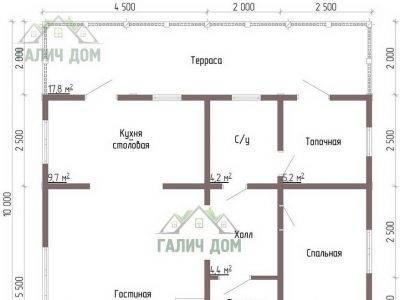 Картинка (5) Планировка 1-го этажа дачного дома из бруса 9х10 (ДБ-43)