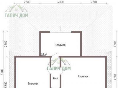 Картинка (6) Планировка 2-го этажа дома из бруса 9х10 (ДБ-43)