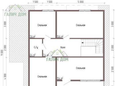 Картинка (6) Планировка 2-го этажа дачного дома из бруса 8х9 (ДБ-44)