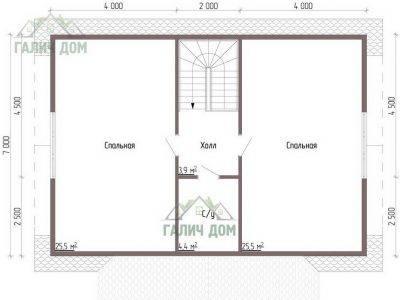 Картинка (6) Планировка 2-го этажа дома из бруса 10х11 (ДБ-46)