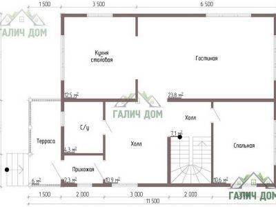 Картинка (5) Планировка 1-го этажа дома из бруса 8х11 (ДБ-49)