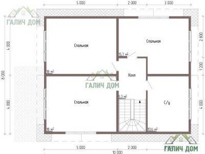 Картинка (6) Планировка 2-го этажа дома из бруса 8х11 (ДБ-49)