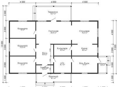 Картинка (6) План одноэтажного дома из бруса 13х15