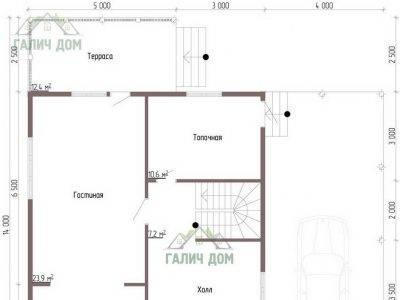 Картинка (5) Планировка 1-го этажа дома из бруса 12 на 13 (ДБ-55)
