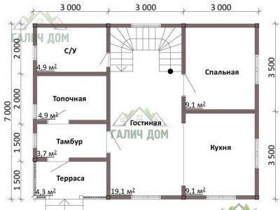 Картинка (5) План 1 этажа дома из бруса 7 на 9 с мансардой