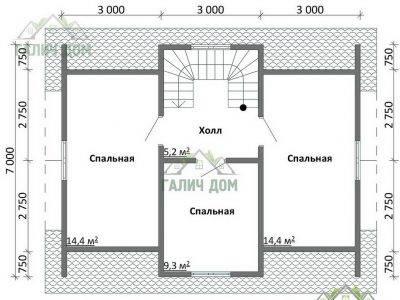 Картинка (6) План 2 этажа дома из бруса 7 на 9 с мансардой