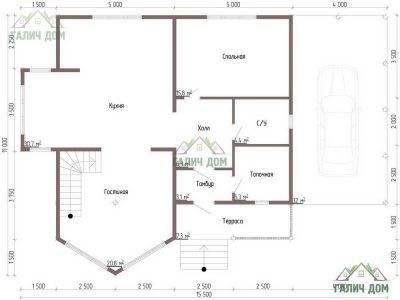 Картинка (6) Планировка 1-го этажа дома 11 на 11 (ДБ-60)