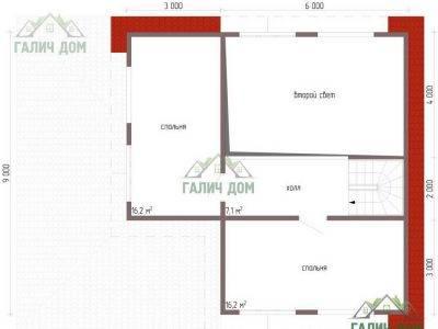 Картинка (6) Планировка 2-го этажа дома 9х12 (ДБ-61)