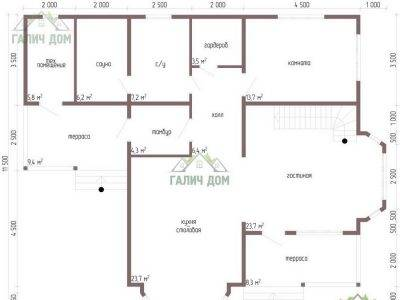 Картинка (5) Планировка 1-го этажа дома 10 на 13 (ДБ-62)